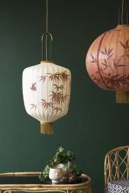 Traditional Japanese Lantern Ceiling Light - Cream Cylinder