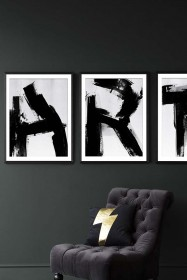 Framed 50x70 Monochrome Abstract Alphabet A-Z Art Print