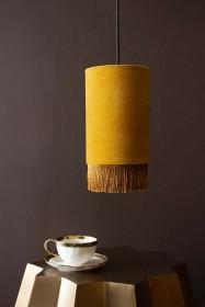 Velvet Pendant Ceiling Light With Fringe - Mustard