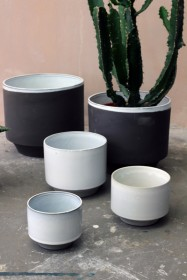 Set Of 3 Small Peace Planters - White