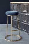 Atlantis Velvet Bar Stool - Petrol Blue