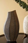 Black African Ceramic Chevron Vase