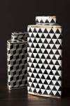 Geometric Monochrome Storage Jar with Gold Detail - Tall