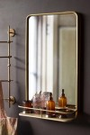 Light Gold Tall Bathroom Mirror With Shelf