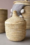 Moroccan Wicker Basket With Lid - Small