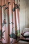 Blush Pink Birds Print Velvet Curtain Panel