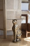Antique Gold Leopard Side Table With Glass Top