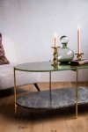 Forest Green Oval Marble & Brass Coffee Table