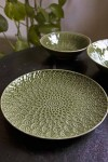 Moss Green Fern Leaf Design Side Plate