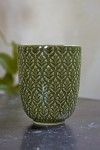Moss Green Fern Leaf Handleless Cup