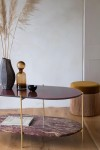 Wine Red Oval Marble & Brass Coffee Table