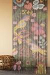 Bamboo Door Curtain - Birds & Flowers Design