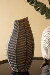 Black African Ceramic Chevron Vase