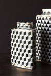 Geometric Monochrome Storage Jar with Gold Detail - Short