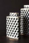 Geometric Monochrome Storage Jar with Gold Detail - Short