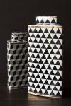 Geometric Monochrome Storage Jar with Gold Detail - Tall