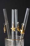 Set Of 4 Sea Life Charm Glass Drinking Straws - Seahorse, Starfish, Crab & Turtle