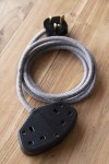 Stylish 2m Extension Cable - Grey Linen Lead With Black Sockets