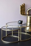 Set Of 2 Circular Glass & Brass Coffee Tables