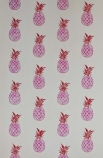 detail image of Barneby Gates Pineapple Wallpaper - Pink/Red pink pineapples on white background repeated pattern