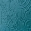 Angled close up on the Anaglypta Egon wallpaper painted blue - Rockett St George