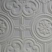 Close up of white Anaglypta Egon wallpaper - Rockett St George