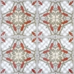 square detail image of Art Deco Wallpaper red, grey, yellow and white kaleidoscope repeated pattern