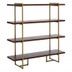 Angled image of the Herringbone Style Dark Wood & Antique Brass 4-Shelf Unit on a white background