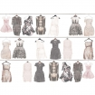cutout Image of Mr Perswall Wallpaper - Fashion Collection - Walldrobe on a white background clothes on black hangers pattern