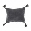 Cotton Quad Tassel Cushion - Slate Grey