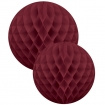 square cutout image of Set Of 2 Honeycomb Ball Decorations - Burgundy on white background
