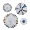 square cutout image of Set Of 4 Hanging Holographic Silver Foil Pinwheel Decorations on white background