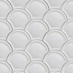 square detail image of Scales Wallpaper white scalloped repeated pattern
