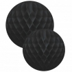 square cutout image of Set Of 2 Honeycomb Ball Decorations - Black one in front of the other on white background