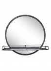 Image of the Black Metal Round Mirror With Shelf on a white background