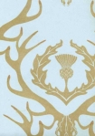 close up detail image of Barneby Gates Wallpaper - Deer Damask - Duck Egg Blue/Antique Gold gold deer on blue background