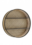 Round Woven Cane Rattan Shelf Unit on a white background