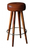 cutout image of Tapas Bar Leather Stool - Tall on white background