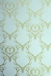 detail image of Barneby Gates Wallpaper - Deer Damask - Duck Egg Blue/Antique Gold gold deer on blue background