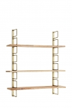 cutout image of Adjustable Brass & Wood Wall Shelf on white background