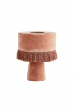 Image of Dusky Rose All Over Velvet Table Lamp With Fringe on white background