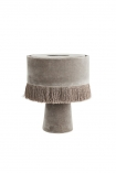 cutout image of All Over Velvet Table Lamp With Fringe - Ice Grey on white background
