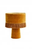 cutout image of All Over Velvet Table Lamp With Fringe - Mustard on white background