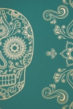 Day of the Dead Skull Wallpaper - Emerald & Gold