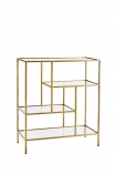 cutout image of Antique Brass & Glass 4-Tier Shelf Unit on white background