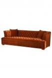 Cutout image of Burnt Orange Velvet Chesterfield Sofa on white background