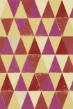 detail image of Mind The Gap Circus Pattern Wallpaper yellow pink and red toned triangle repeated pattern