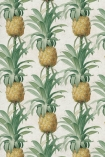 detail image of Mind The Gap Ananas Wallpaper yellow pineapples with green leaves on pale background repeated pattern