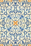 detail image of Mind The Gap Spanish Tile Wallpaper orange blue and cream toned Moroccan style square tile repeated pattern