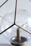Close-up image from above of the bulb in the LED Cubic Frame Battery Operated Table Lamp